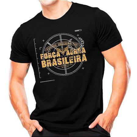 Camiseta Militar Estampada Força Aérea Brasileira Preta - Atack
