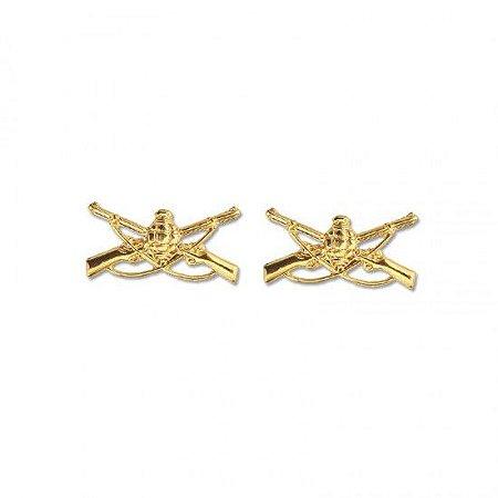 Distintivo De Metal Infantaria Dourado - Gola