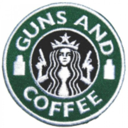 Patch Bordado Com Fecho De Contato Guns And Coffee