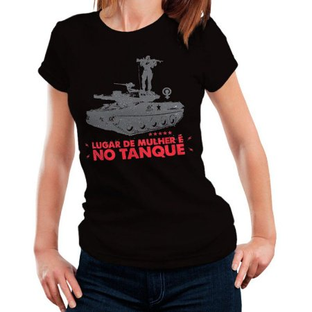 Camiseta Feminina T-Shirt Lugar de Mulher - Preta