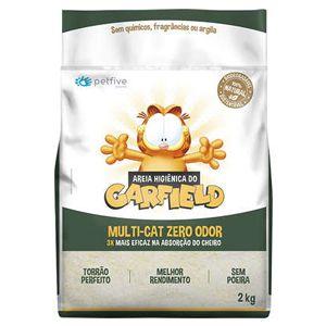 Areia Higiênica Garfield Biodegradável Fina para gatos 2kg