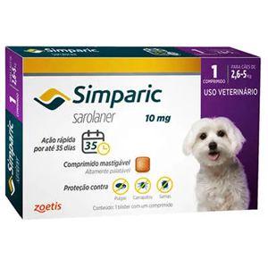 Antipulgas, Carrapatos e Sarnas Simparic 10mg Cães de 2,6 a 5kg - 1 Comprimido