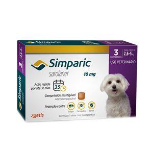 Antipulgas, Carrapatos e Sarnas Simparic 10mg Cães de 2,6 a 5kg - 3 Comprimidos