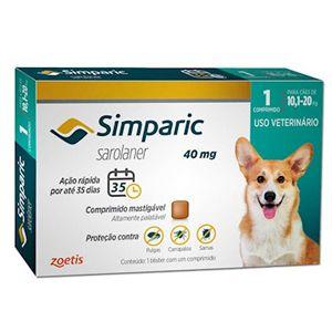 Antipulgas, Carrapatos e Sarnas Simparic 40mg Cães de 10,1 a 20kg - 1 Comprimido