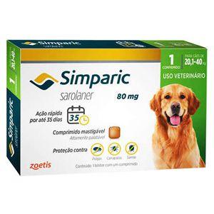 Antipulgas, Carrapatos e Sarnas Simparic 80mg Cães de 20,1 a 40kg - 1 Comprimido