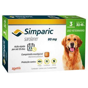 Antipulgas, Carrapatos e Sarnas Simparic 80mg Cães de 20,1 a 40kg - 3 Comprimidos