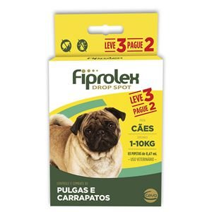 Antipulgas e Carrapatos Fiprolex Drop Spot Cães até 10Kg Kit 3 Unidades Ceva