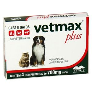 Vermífugo Vetmax Plus 700mg 4 Comprimidos