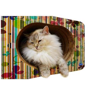 PET GAMES CAT BOX MINI  BORBOLETAS  Arranhador. cama. toca em papelão maciço + catnip