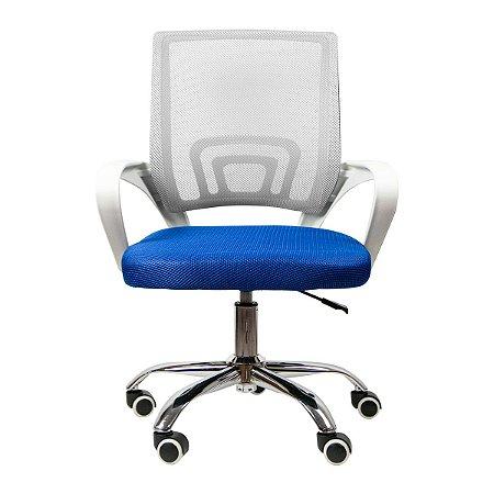 Cadeira Home Office Ergonômica Confortável Escritório - Cinza e Azul