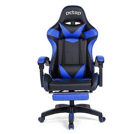 Cadeira Gamer PCTop Racer 1006 Ergonômica Preta e Azul
