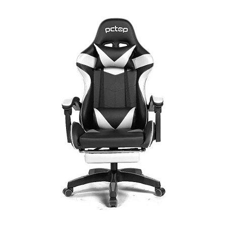 Cadeira Gamer PCTop Racer 1006 Ergonômica Preta e Branca
