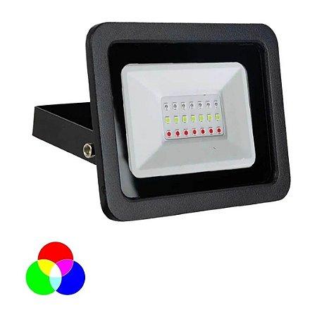 Refletor Led RGB 50w Colorido com Controle Remoto - Preto