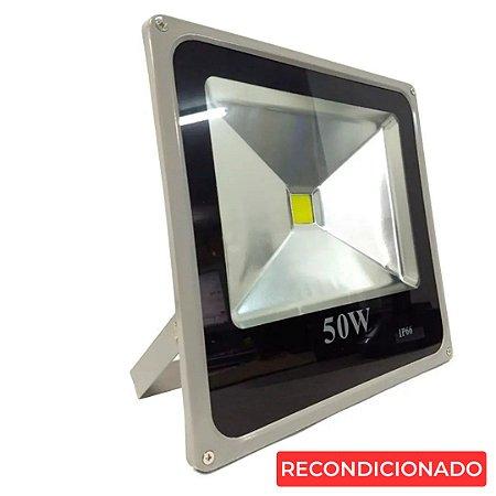Refletor Led 50w Corpo Cinza - Branco Frio