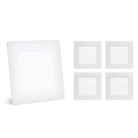 Kit 5 Painel Plafon Led 3w Branco Frio Quadrado Embutir