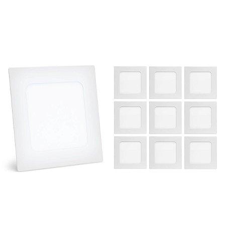 Kit 10 Painel Plafon Led 3w Branco Frio Quadrado Embutir