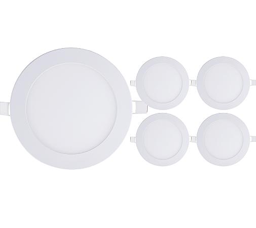 Kit 5 Painel Plafon Led 12w Redondo Embutir - Branco Frio