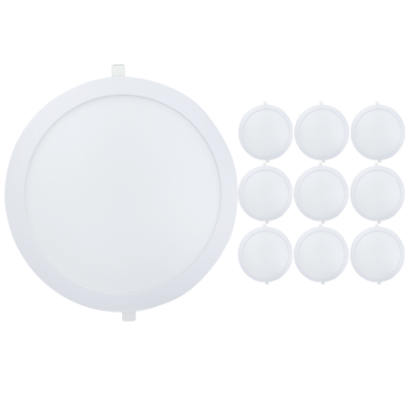 Kit 10 Painel Plafon Led 25w Redondo Embutir - Branco Frio