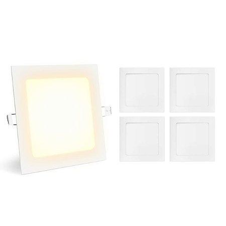Kit 5 Painel Plafon Led 12w Quadrado - Branco Quente  Embutir