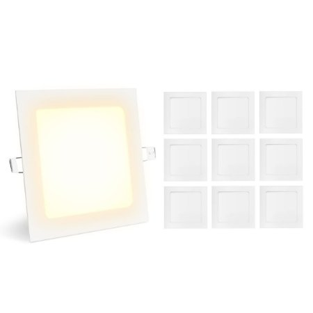 Kit 10 Painel Plafon Led Branco Quente 12w Quadrado Embutir
