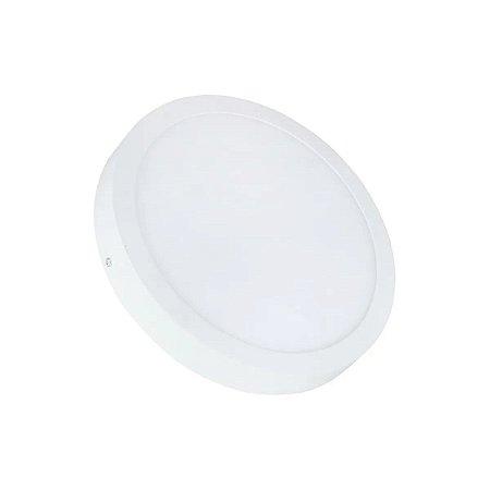 Kit 5 Painel Plafon LED 25w Redondo Sobrepor - Branco Quente