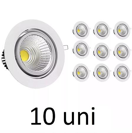 Kit 10 Spot LED 5w COB Redondo Carcaça Branca - Branco Frio
