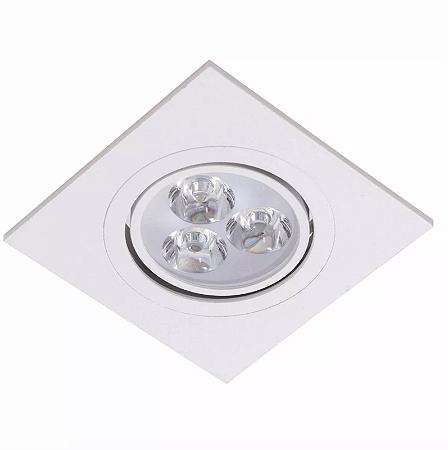 Kit 10 Spot LED Embutir 3w Direcionável Quadrado Branco Frio