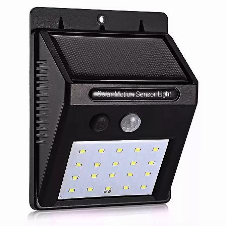 Luminária 20 LEDs Arandela Solar Externa De Parede Sensor de Presença