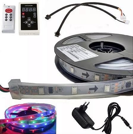 Fita de LED RGB 6803 5m Com Controle Fonte 3A 133 Efeitos