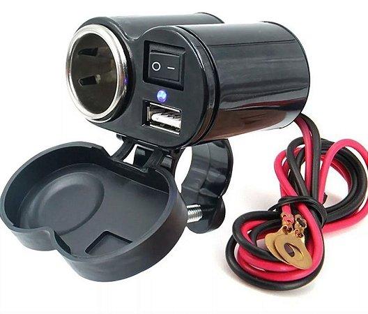Carregador Para Moto Com Tomada USB e Acendedor de Cigarro