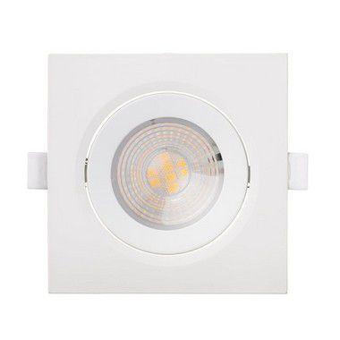 Kit 5 Spot LED Embutir 7w Direcionável Quadrado Branco Frio