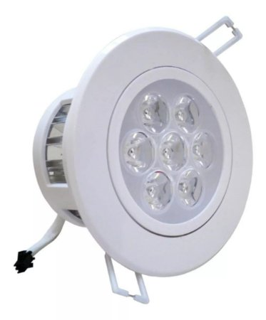 Kit 5 Spot LED Embutir 7w Direcionável Redondo Branco Quente