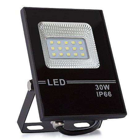 Kit 5 Refletor LED Holofote 30w Slim Branco Frio IP66