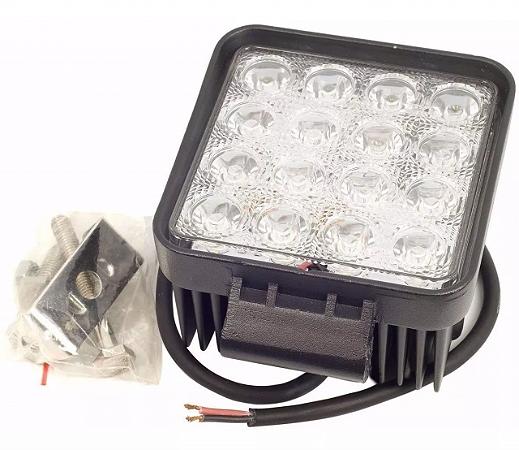 Kit 3 Farol de Milha LED Quadrado Universal 48w 12v