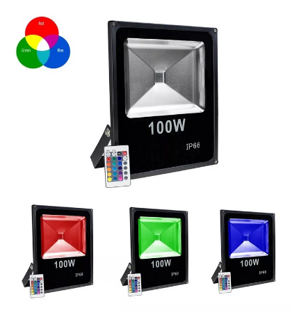 Kit 5 Refletor LED Holofote RGB 100w IP65 Bivolt