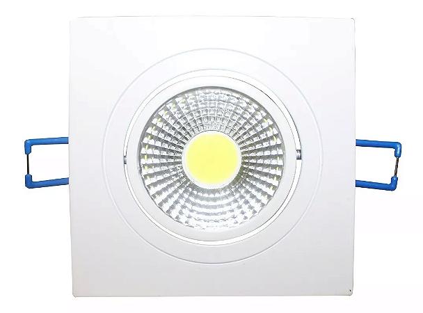 Kit 5 Spot LED 5w COB Quadrado Carcaça Branca - Branco Frio