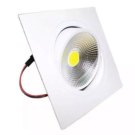 Kit 10 Spot LED 5w COB Quadrado Carcaça Branca - Branco Quente