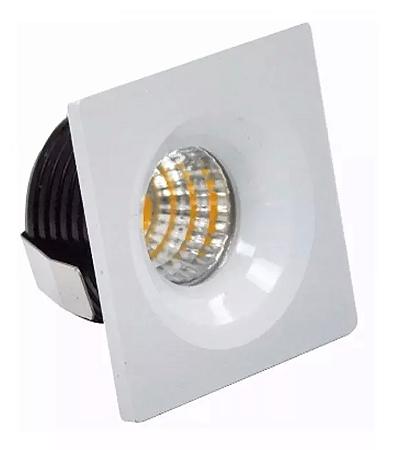 Kit 5 Mini Spot LED 3w Quadrado COB - Branco Quente