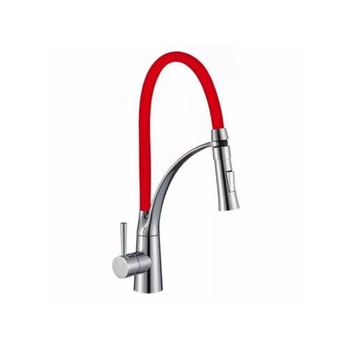 Torneira Gourmet Para Cozinha Flexível Monocomando Vermelha KITP-125