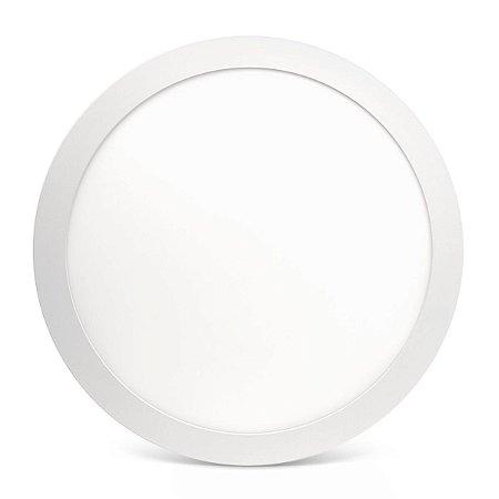 Kit 20 Painel Plafon Led 25w Branco Quente Redondo Embutir