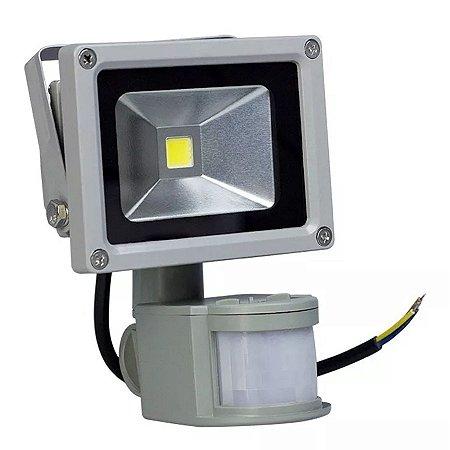 Kit 10 Refletor Led 10w Com Sensor de Presença - Branco Frio