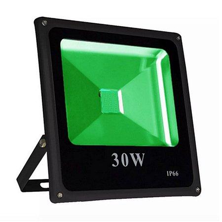 Kit 5 Refletor Led 30w Slim Verde