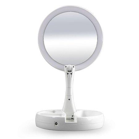 Espelho de Maquiagem Com LED E Base Portátil Aumento - HQ-0212