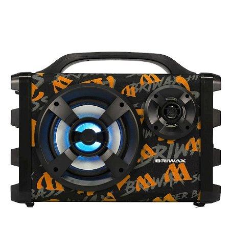 Caixa De Som Bluetooth Fbx-112 Portátil - Preta E Laranja