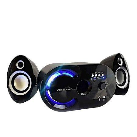 Caixa De Som Bluetooth 18w Wireless Subwoofer 2.1 - Preta