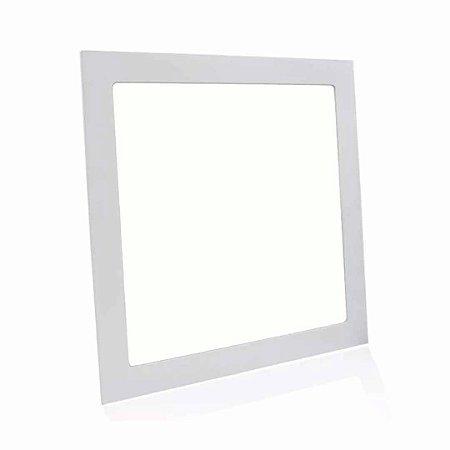 Painel Plafon LED 12w Quadrado Embutir - Branco Morno