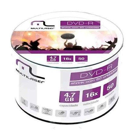 Conjunto DVD-R Multilaser Gravável DV061 4,7Gb 120min 16x – 50 un