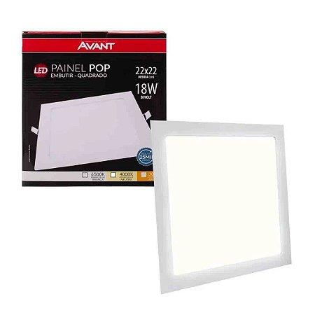 Painel Plafon Led 18w Quadrado Embutir Bivolt Avant-  Branco Neutro
