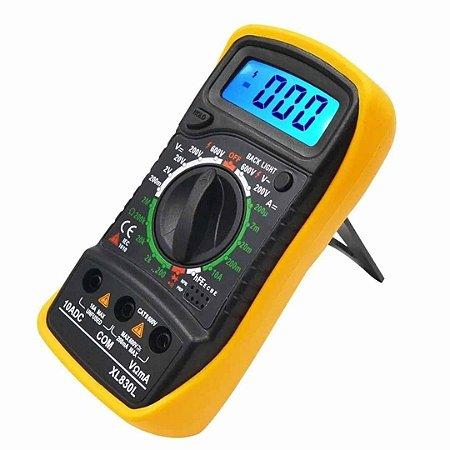 Multímetro Digital Alta Precisão com LCD Iluminado XL830L - Amarelo