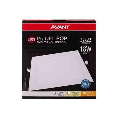 Kit 10 Painel Plafon Led 18w Quadrado Embutir Avant - Branco Frio
